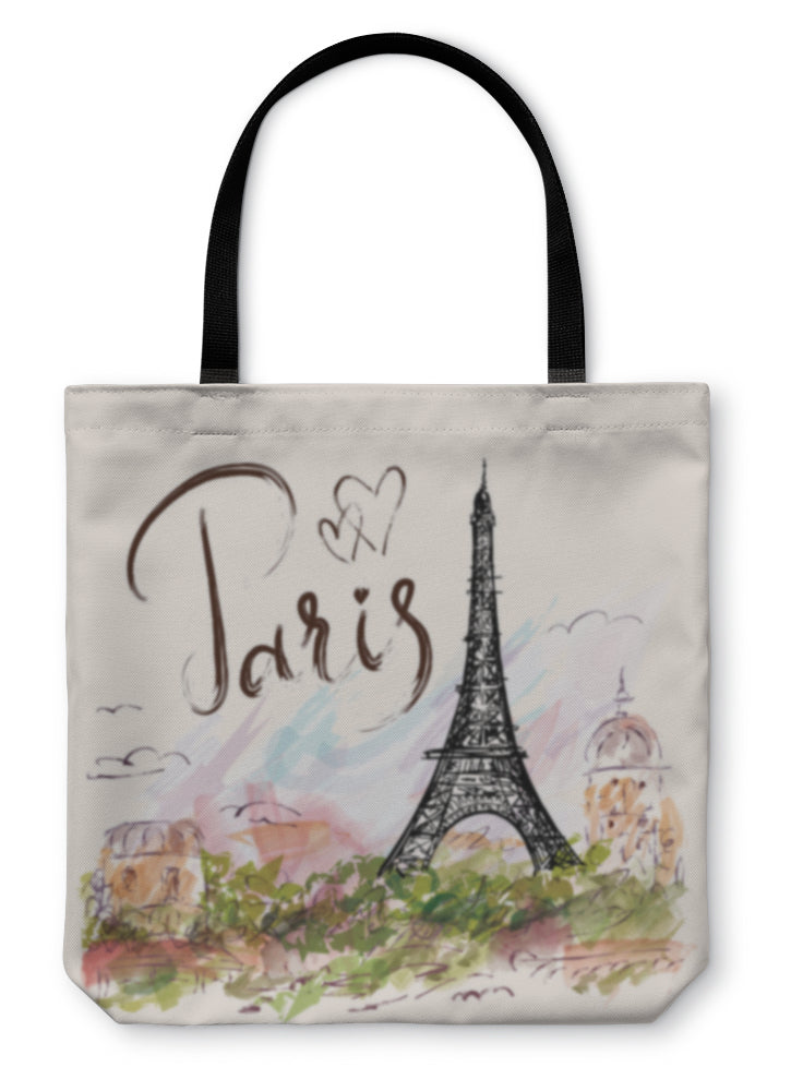 Tote Bag, Illustration With Eiffel Tower Paris