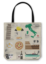Tote Bag, Italy Flat Icons Design