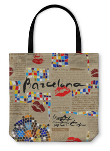 Tote Bag, Imitation Of Newspaper Barcelona With Mosaics