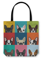 Tote Bag, Boston Terrier Pattern