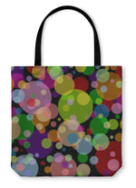 Tote Bag, Black Square With Multicoloured Balls