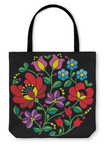 Tote Bag, Kalocsai Embroidery Hungarian Round Floral Folk Pattern On Black