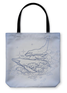 Tote Bag, Graphic Whales Flying In The Sky