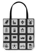 Tote Bag, Netherlands Icons Set Simple Style