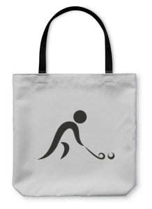 Tote Bag, Winter Sport Hockey Icon Monochrome On White