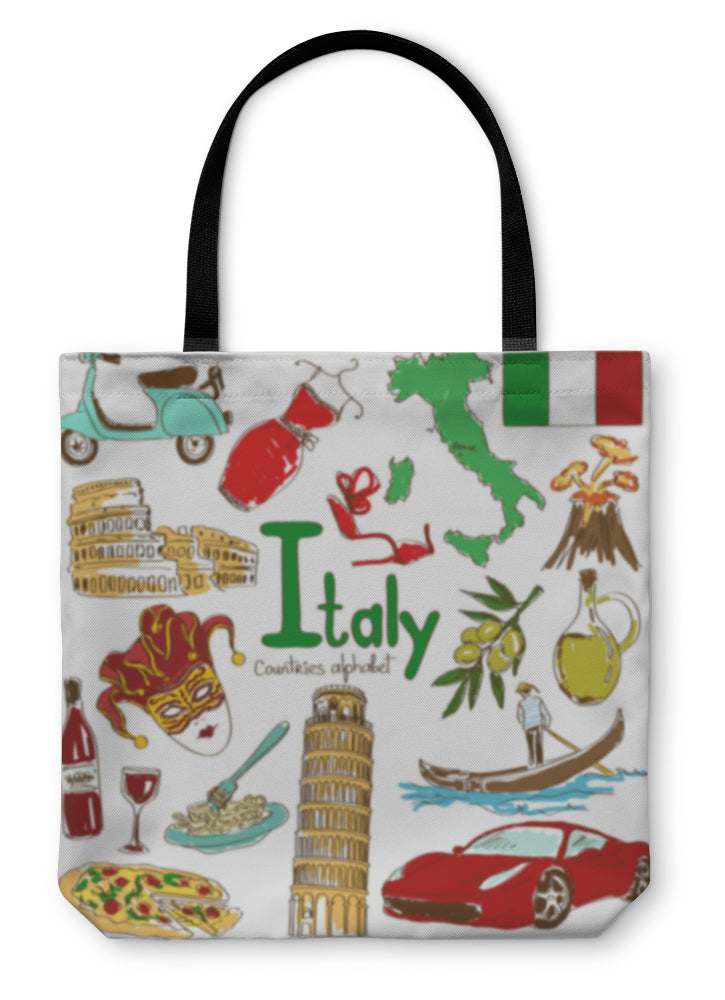 Tote Bag, Collection Of Italy Icons