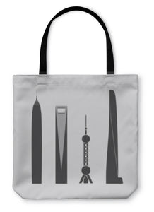 Tote Bag, Collection Of Icons Of Four Towers And Skyscrapers