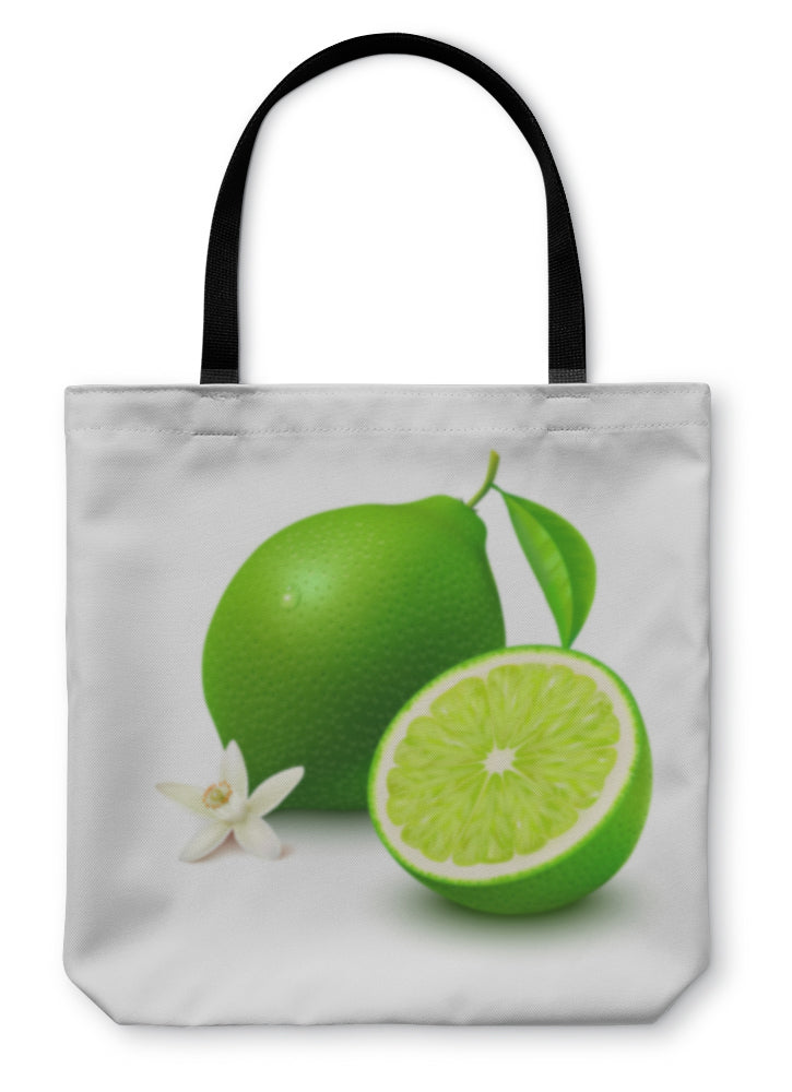 Tote Bag, Lime With Half And Flower On White