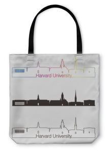 Tote Bag, Harvard University Skyline Linear Style With Rainbow