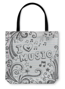 Tote Bag, I Love Music Sketchy Doodle Back To School Design