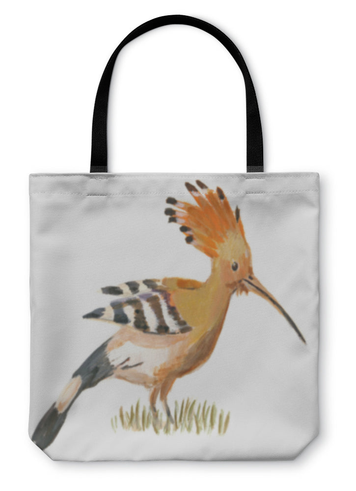Tote Bag, An Hand Painted Illustration On White Bird Hoopoe