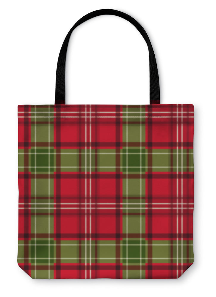 Tote Bag, Christmas Tartan Pattern