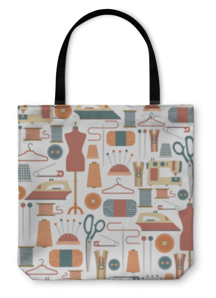Tote Bag, Pattern With Sewing Icons