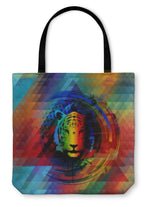 Tote Bag, Abstrac Tiger In Rainbow Colors