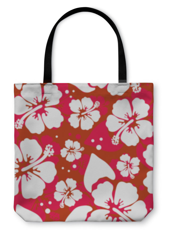 Tote Bag, Pattern With Hibiscus Flowers