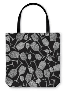 Tote Bag, Wine Glasses Pattern Winery Theme