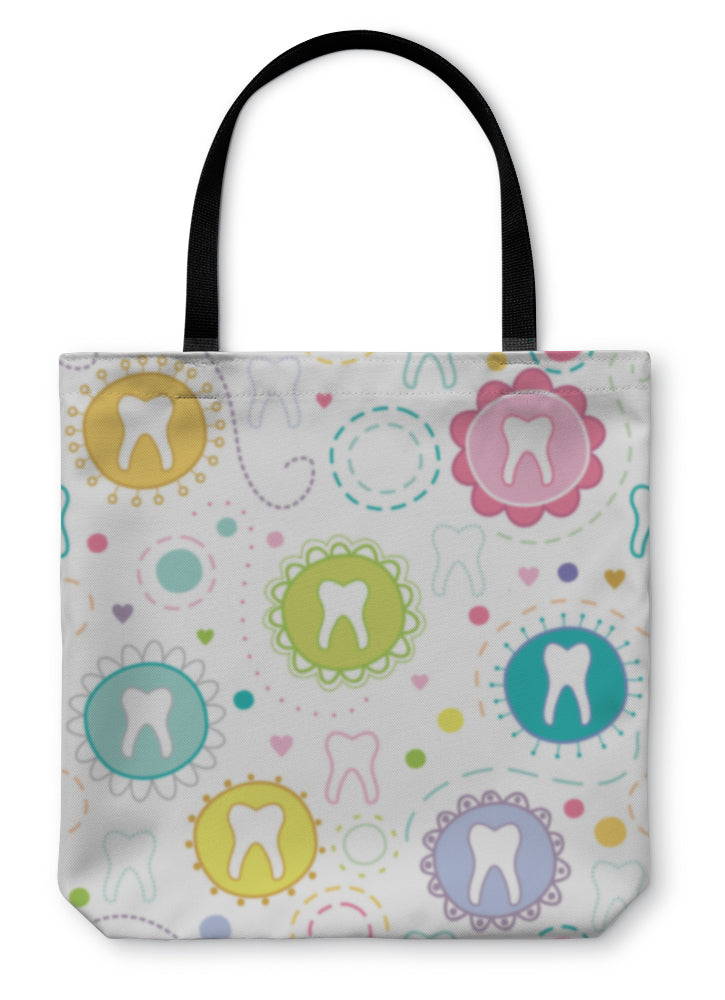 Tote Bag, Cheerful With Cartoon Teeth