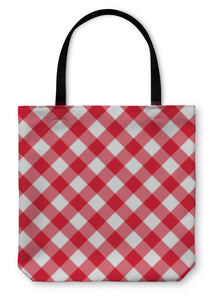 Tote Bag, Table Diagonal Cloth Pattern Red Middle Size
