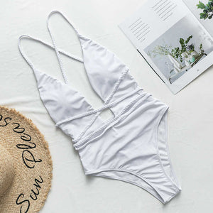 Halter neon bikini deep v-neck bathing suit women monokini String sexy swimsuit one piece bodysuits High cut swimwear women 2020