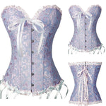 Sexy Corsets And Bustiers Lace Up Boned Overbust Costume Steampunk Waist Corset Dress Body Trainer Shapewear - Beige, Red, Blue