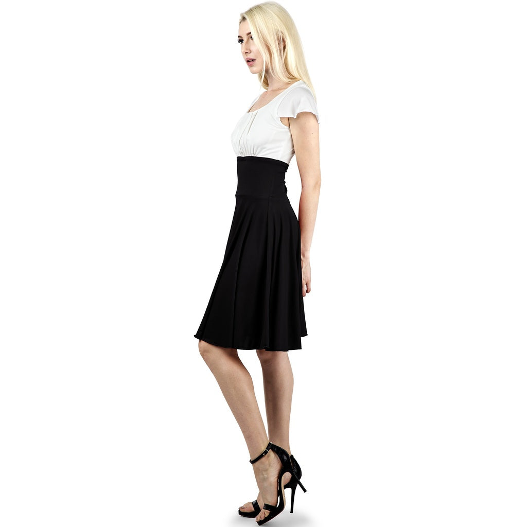 Evanese Women's Short Sleeve Pleat Top and A Line Circle Skirt Cocktail Dress