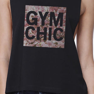 Gym Chic Black Work Out Crop Top Cute Fitness Sleeveless Muscle Tee - Bathing Suit Hub