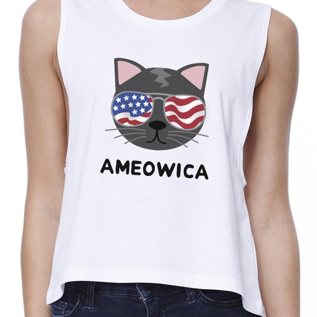 Ameowica Womens White Funny Cat Design Crop Tee For Fourth of July - Bathing Suit Hub