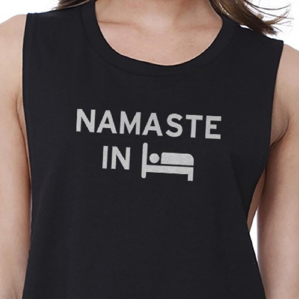 Namaste In Bed Crop Top Yoga Work Out Tank Top Cute Yoga T-shirt - Bathing Suit Hub