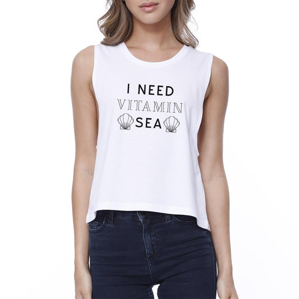 I Need Vitamin Sea Womens White Cotton Cropped Tee Cute Summer Tee - Bathing Suit Hub