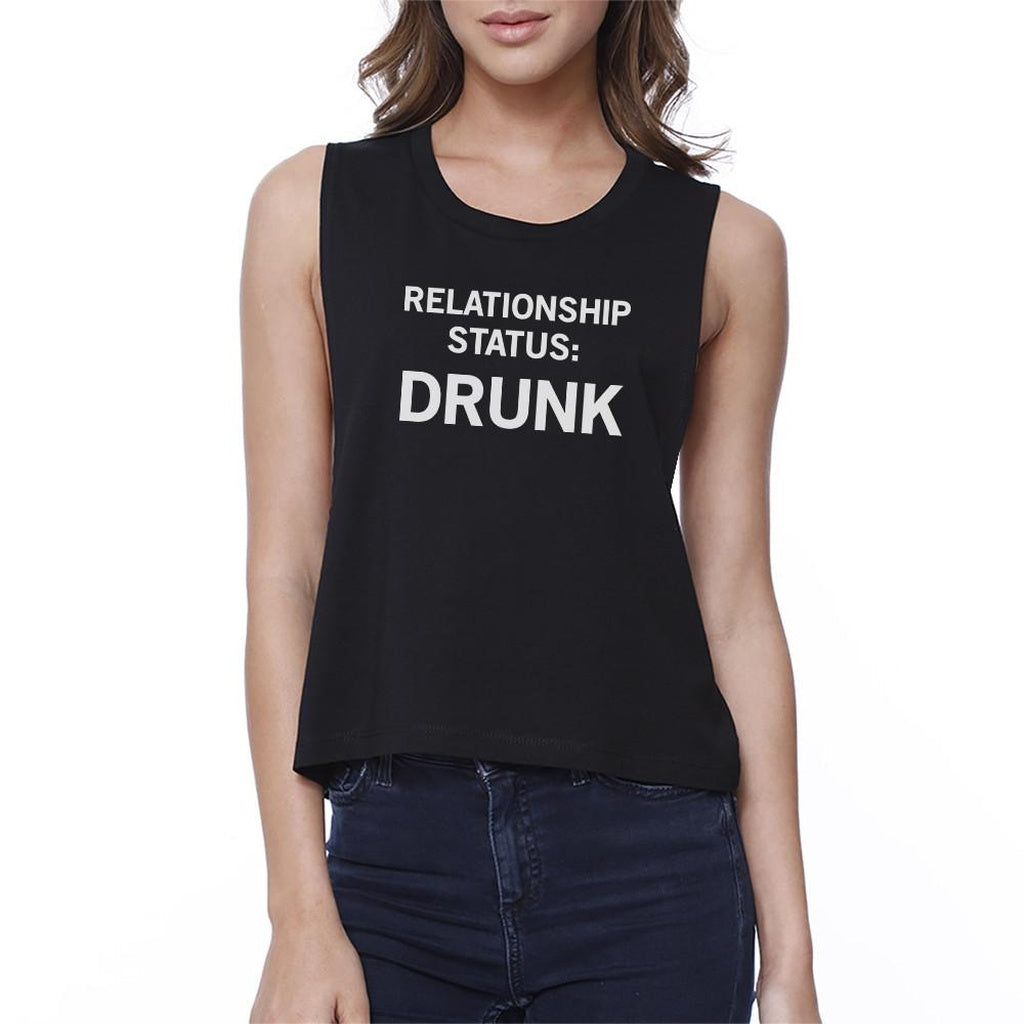 Relationship Status Women's Black Crop T-Shirt Funny Gift Ideas - Bathing Suit Hub