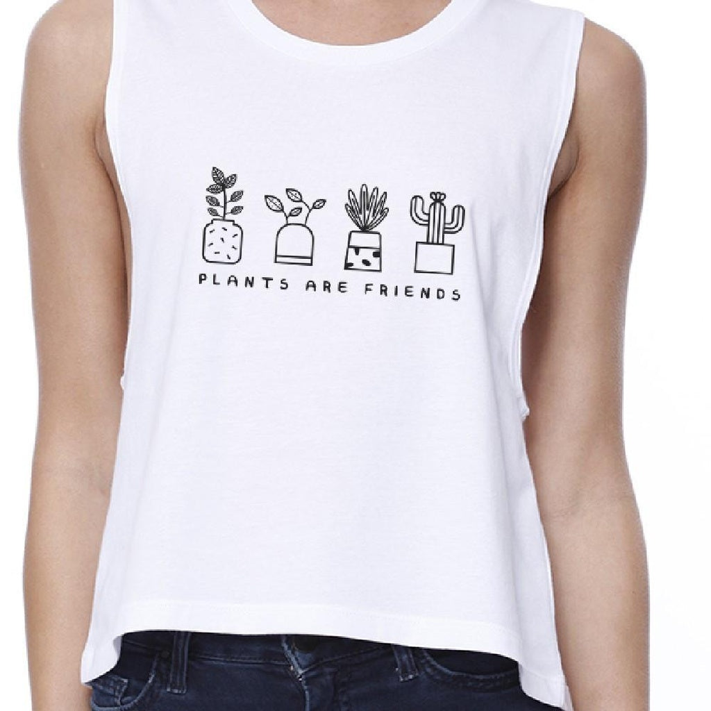 Plants Are Friends Women's White Crop T Shirt Earth Day Special - Bathing Suit Hub