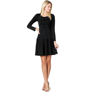 Evanese Women's Short Cowlneck Tank A Line Day Casual 2 Piece Long Sleeve Dress