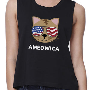 Ameowica Womens Black Sleeveless Crop Tee Gift Ideas For Cat Lovers - Bathing Suit Hub
