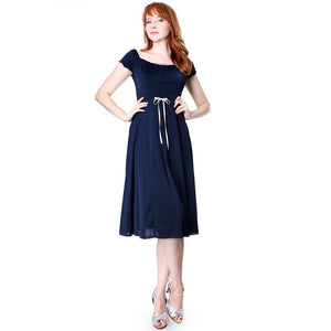 Evanese Women's sweetheart cap sleeve knee length day dress with satin trims