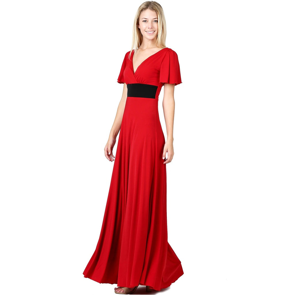 Evanese Women's Elegant Slip on Short Sleeves Evening Party Formal Long Dress
