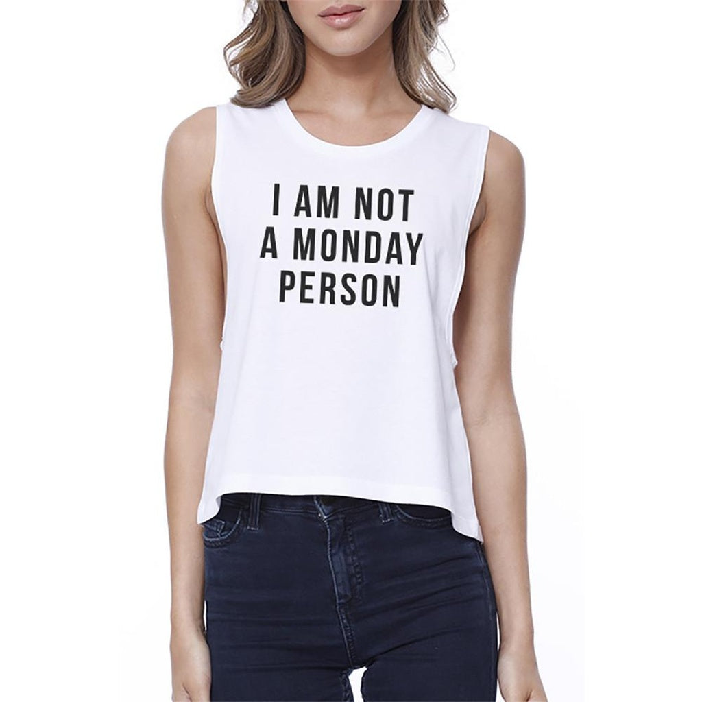 Not A Monday Person Funny Graphic Design Printed Women's Crop Top - Bathing Suit Hub