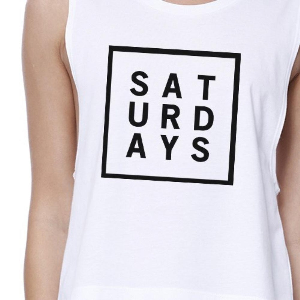 Saturdays Womens White Sleeveless Crop Top Trendy Typography Shirt - Bathing Suit Hub