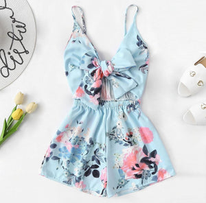 Jumpsuit women sling V-neck holiday casual sleeveless bow tie front flower print fashion boho loose loose jumpsuit