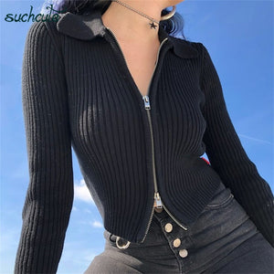 SUCHCUTE Modis women's jacket sweater cardigan With Zipper Black Knitting Casual Longslive Autumn 2019 Festival women clothes winter