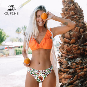 CUPSHE Orange Ruffle Bikini Sets With Floral Bottom Sexy Swimsuit Two Pieces Swimwear Women 2020 Beach Bathing Suit Biquinis