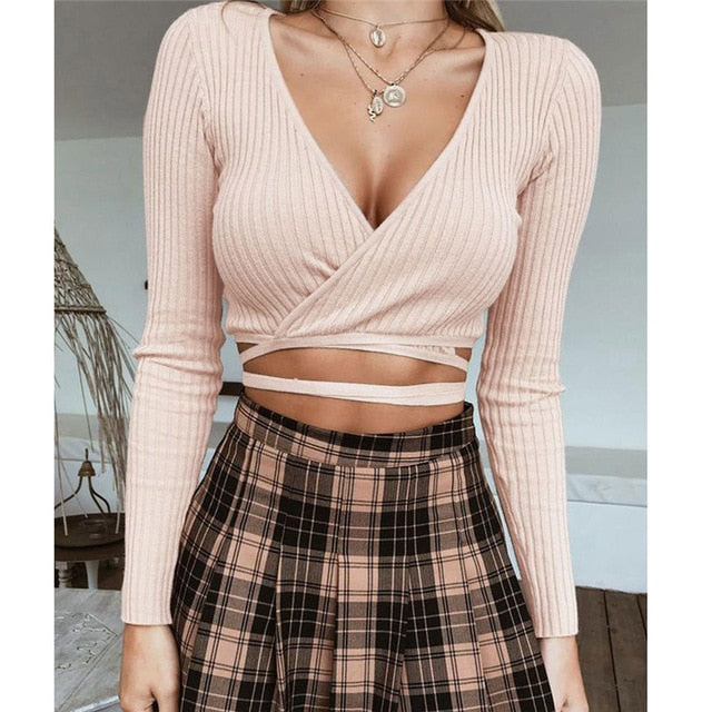 New Fashion Autumn Winter Womens Knitted Sweater Long Sleeve short Crop Top V neck Slim Casual cotton Knitwear Knitting Shirts