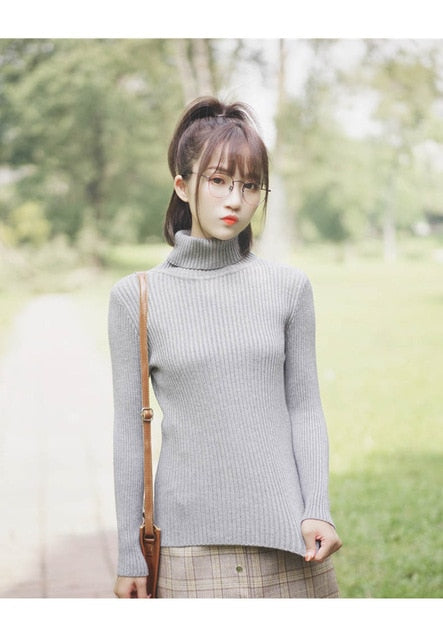 GUMPRUN Winter Women Knitted Turtleneck Sweater 2020 Fall Casual Slim Sweaters Pullover Womens Long Sleeve Elasticity Sweater