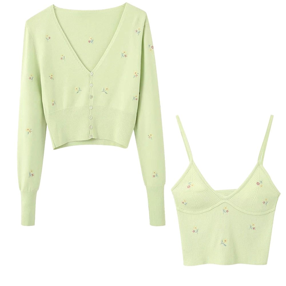 2020 sunmmer new women's Embroidery Green Cropped knit cardigan Casual two pieces set fashion autumn winter crop tops