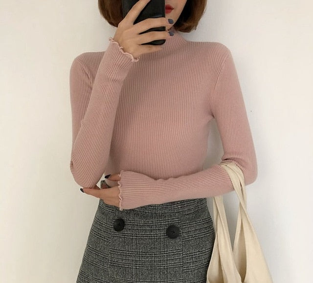 Turtleneck Ruched Women Sweater High Elastic Solid 2020 Fall Winter Fashion Sweater Women Slim Sexy Knitted Pullovers Pink White