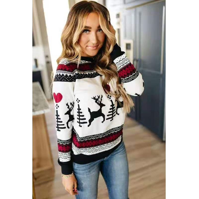Christmas Sweater 2020 Winter Classic Deer Printed Knitted Pullovers Plus Size Streetwear Long Sleeve Causal Jumpers Autumn Winter