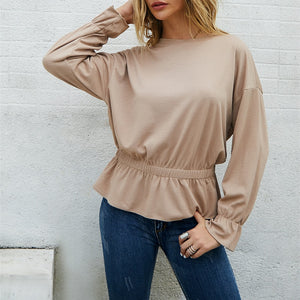 Women Dress Style Casual T-Shirt 2019 Autumn Winter Solid O-Neck Long Sleeve New Fashion Loose Tshirt Office Lady Tops