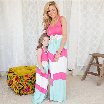 Mother Daughter Matching Long Maxi Dress - Pink, Blue, White - Bathing Suit Hub