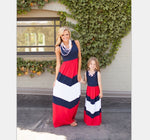 Mother Daughter Matching Long Maxi Dress - Red, White, Blue - Short Sleeve - Bathing Suit Hub