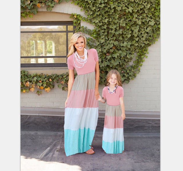 Mother Daughter Matching Long Maxi Dress - Blue and Pink - Bathing Suit Hub