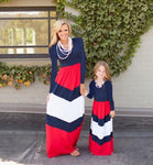 Mother Daughter Matching Long Maxi Dress - Red, White, Blue - Bathing Suit Hub